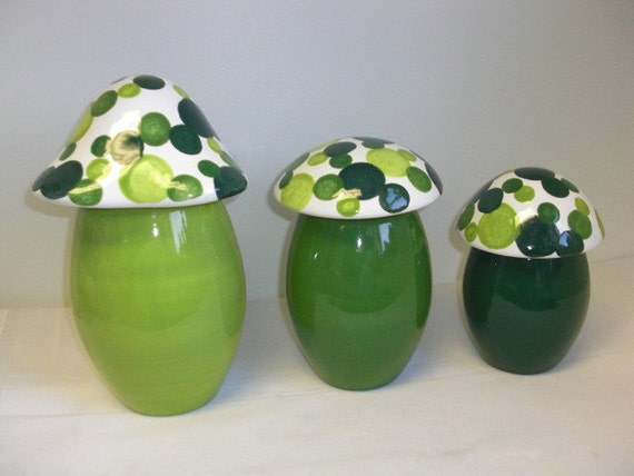 Set of Three Bright Colorful Mushroom Canisters in Shades of Green