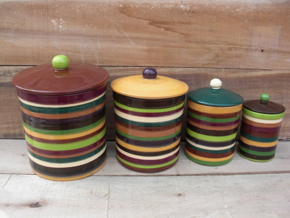 Kitchen Canister Set Of Striped Shades