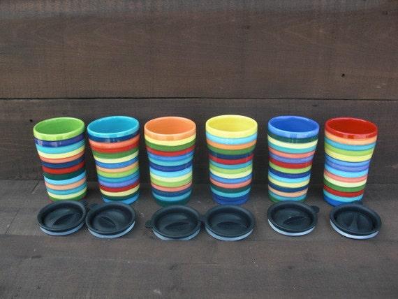 Colorful Rainbow Stripes Ceramic Travel Mug with Lid - Twist Closure - Sapphire Blue Interior