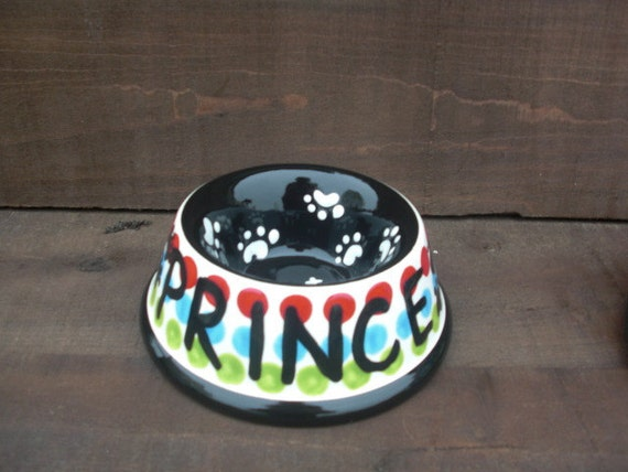 Prince - One Custom Ceramic Dog / Cat / Pet Bowl - Pick your Colors and Patterns - Small