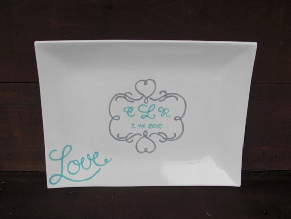 Custom Hand Painted Wedding Signature Guestbook Platter - Personalized with Love - Heart Scroll Border