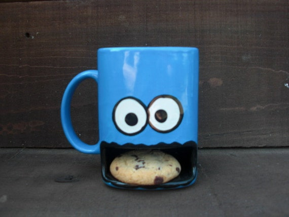 Googly Eyed Monster Ceramic Cookies and Milk Dunk Mug - Ready to Ship