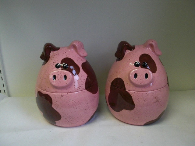 pig kitchen canisters piggy ceramic pig canister or cookie jar handpainted 14548