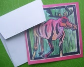 Red Moose-set of four blank note cards