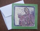Green Turtle-set of four blank note cards