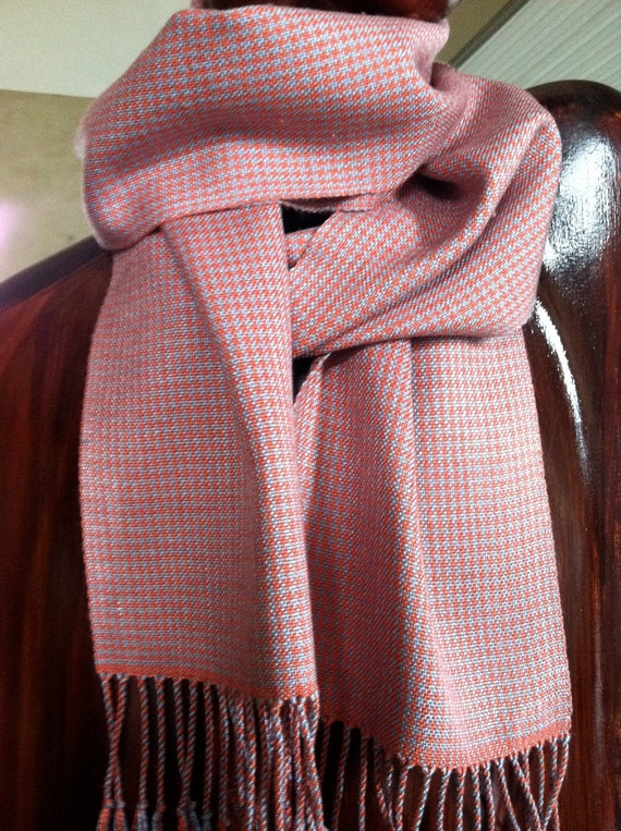 Dressy Houndstooth Silk Scarf, Hand Woven Man Scarf, Woman's Handwoven Scarf