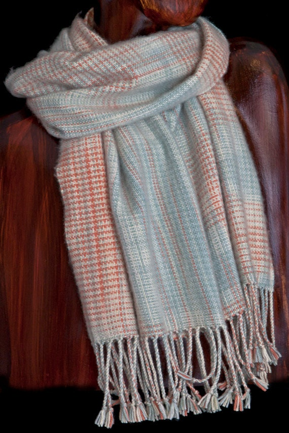 Hand Woven Silk Cashmere Scarf, Soft Coral Handwoven Scarf, Gift for Her