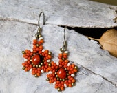 Small Red and Antique Gold Peyote Flowers with Ecuadorian Seeds