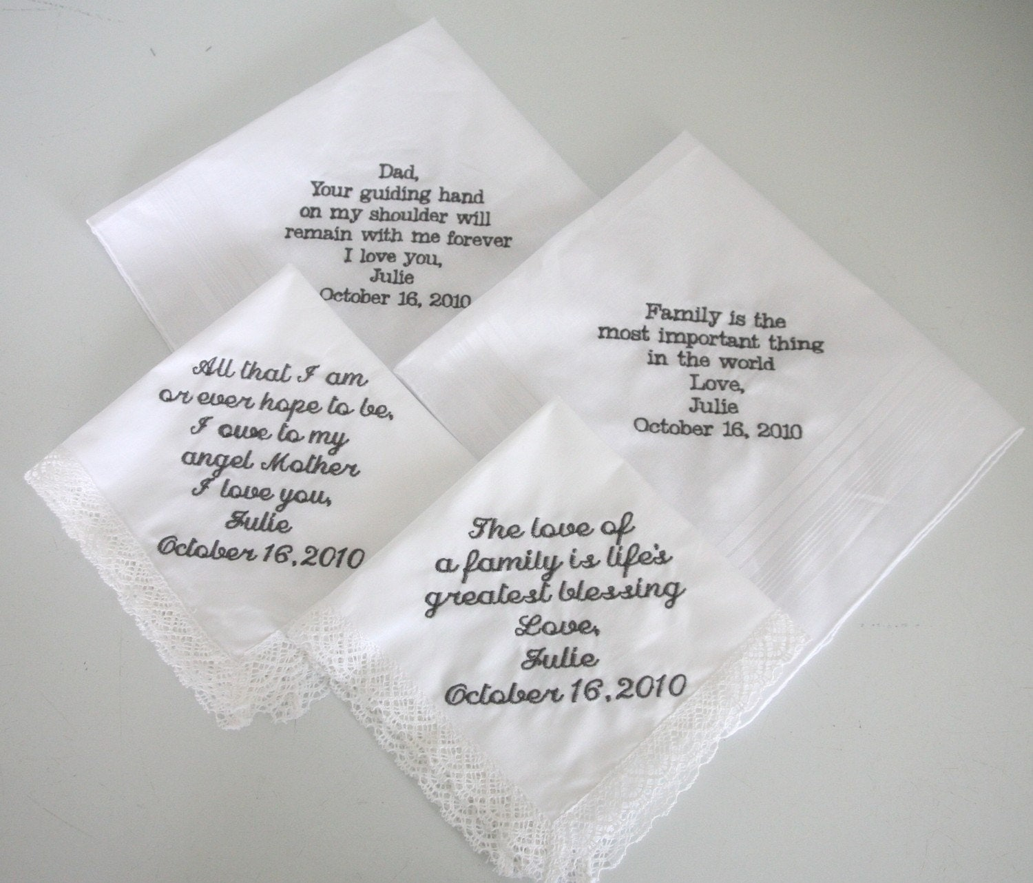 Personalized Embroidered Wedding Handkerchiefs Set Of 4