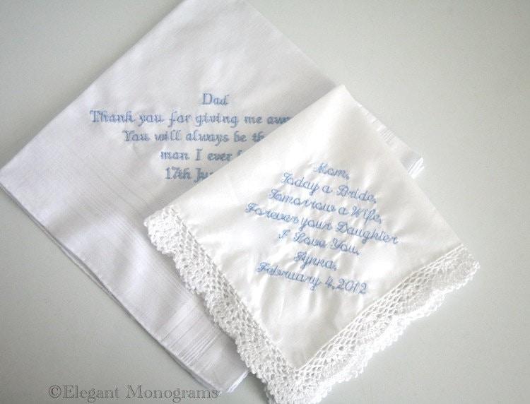 Embroidered Personalized Wedding Handkerchiefs Crochet