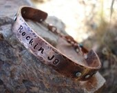 Hand Stamped Personalized Custom Copper Cuff Bracelet with Turquoise and Crystals Charms