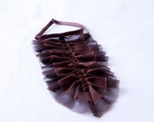 Chocolate brown jabot - chiffon, velvet ribbon