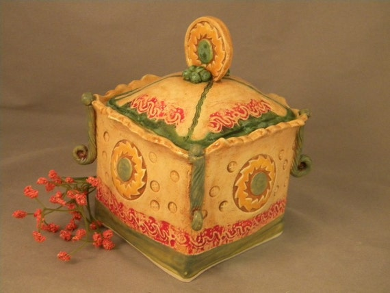 Tea Box in Red and Orange