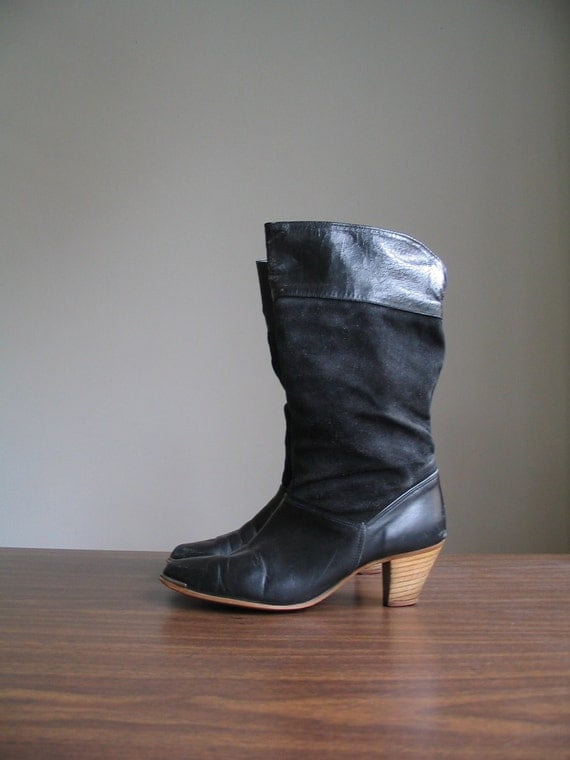sale 1980's DINGO STACKED HEEL black leather boot