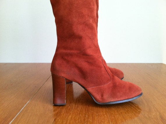 sale 1970's STACKED HEEL SUEDE boot.  size 10.