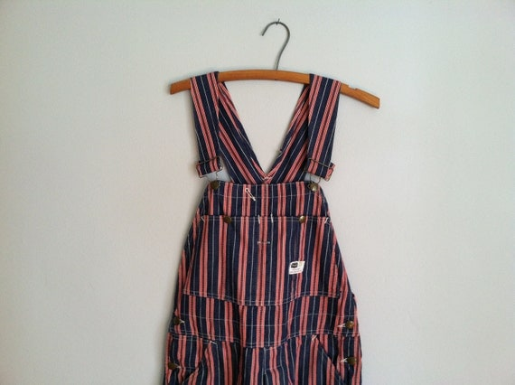 1970's all American pinstriped overalls.  bibs.  red. white. navy.