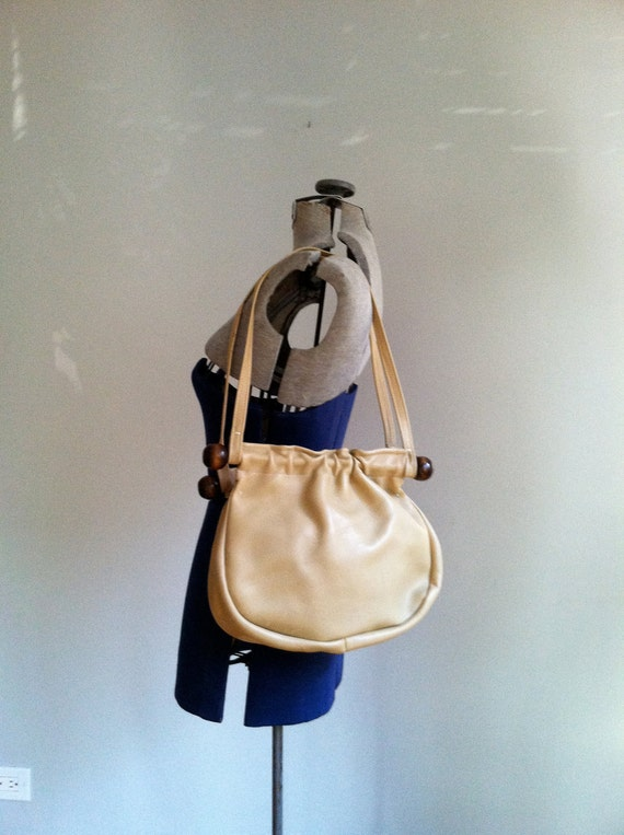 sale 1970's LEATHER  SATCHEL bag.  purse.