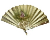 Antique Fan Hand Painted Silk With Mother Of Pearl 1800's