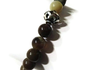 Wood agate and Silver Bead Bracelet