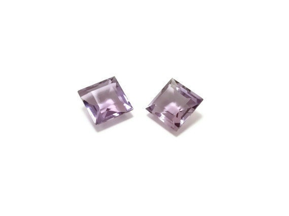 Matched Pair Genuine Amethyst 7x7x4mm Square cut 3.20ct