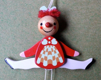 Vintage folk wooden painted pull toy Doll