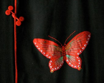 vintage black Cheongsam dress butterfly appliques red piping