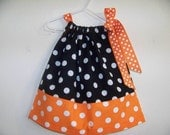 Black and Orange Polka Dot Halloween Pillowcase Dress Size 3T also available in 3-6 mon,6-9 mon, 12 mon,18 mon,2T,3T and 4T.