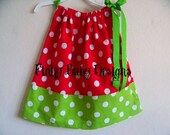 Red and Green Polka Dot Pillowcase Dress Available in Sizes 3-6 mon,6-9 mon,12 mon, 18 mon,2T,3T and 4T
