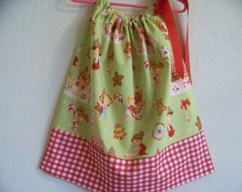 Angelcakes Christmas Pillowcase Dress  Size 3T also available in 3-6 mon, 6-9 mon,12 mon,18 mon, 2T, and 4T