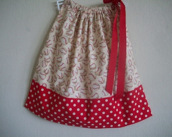 Red Baseball  Pillowcase Dress Size 12 mon also available in 3-6 mon, 6-9 mon,18 mon, 24 mon,2T,3T and 4T