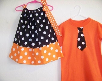 Black and Orange Halloween Brother Sister Set  in 3-6 mon,6-9 mon, 12 mon,18 mon, 2T,3T, 4T