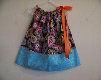 Bright Paisley Pillowcase Dress Available in Sizes 0-3 mon, 3-6 mon, 6-9 mon, 12 mon, 18 mon,2T, 3T and 4T
