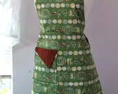35% off SALE Green Vegetables Apron with brown accents