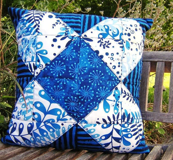 30% off SALE Bright Blue, Black Floral Quilted Cotton Pillow Cover