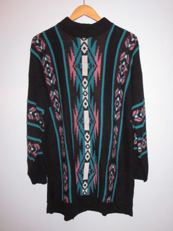 Vintage Navajo Print Sweater Dress