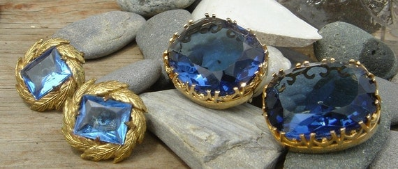 SALE // Antique Blue Glass Scatter Brooches and Earring Lot