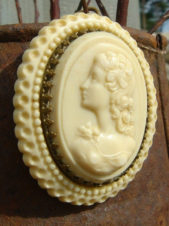 SALE // Antique French Celluloid Cameo Perfume Pendant Brooch
