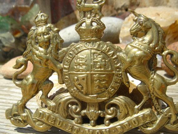 SALE // Antique Military Badge Dieu Et Mon Droit Large Assemblage Repurpose Collectible Medal