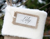 Six Personalized Burlap Tags... What would you like to say