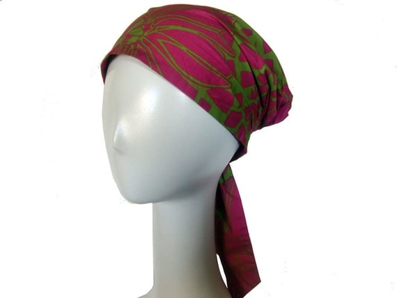 Travel Hair Scarf / Pink Green Cotton Head Cover