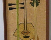 Vintage Mid Century 1950's Gravel Art Wall Hanging Picture with Guitar's musical intstrament