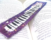 Painted Bookmark, Purple Piano Keyboard, Original Art Painting
