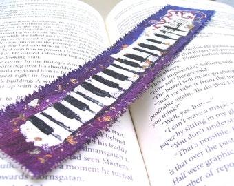 Painted Bookmark, Purple Piano Keyboard, Original Art Painting