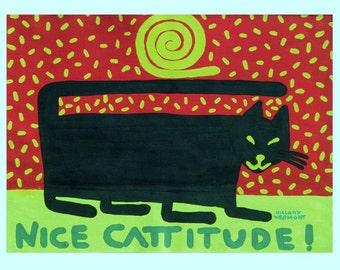 Nice Cattitude Print copyright Hillary Vermont