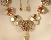 Champagne Ivory Pearl and Rhinestone Bridal Necklace, Vintage Gold Cluster Earring and Brooch Necklace