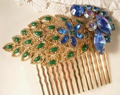 Vintage PEACOCK Rhinestone Bridal Hair Comb - 22K Gold Plated Heirloom Jeweled Comb
