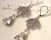 Vintage Art Nouveau Crystal Rhinestone Antique Silver Plated Dangle Earrings