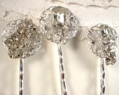 OOAK Antique Clear Rhinestone Bridal Hair Clips, TRUE VINTAGE Jeweled Silver Plated Heirloom Bobby Pins Set of 3