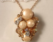 RESERVED TRUE Vintage French Vanilla Baroque Pearl and Crystal Bridal Necklace, Heirloom Cluster Earring Necklace