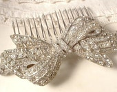 LARGE 1930s Art Deco Rhinestone Bow Bridal Hair Comb, Pave Crystal Pot Metal OOAK TRUE Vintage Brooch Hair Comb